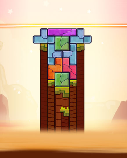 The first puzzle level in Tricky Towers was designed so each brick has a logical place.